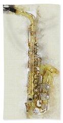 Brass Saxophone Beach Towel