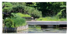 Bridge Over Pond In Japanese Garden Beach Sheet