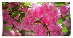 Bright Pink Blossoms Beach Sheet