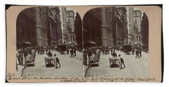 Broad Street, The Broker Section Of The City, Sub-treasury To The Right, New York City Beach Towel