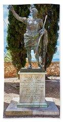 Beach Towel featuring the photograph Bronze Copy Of Augustus Of Prima Porta Sculpture In Spain by Eduardo Jose Accorinti