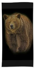 Brown Bear In Darkness Beach Towel