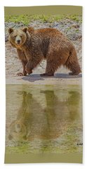 Brown Bear Reflection Beach Towel