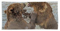 Brown Bears Fighting Beach Towel
