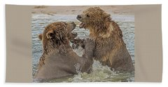 Brown Bears Fighting Beach Sheet
