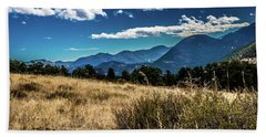 Brown Grass And Mountains Beach Towel