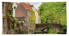 Beach Towel featuring the photograph Bruges Footbridge Over Canal by Nathan Bush