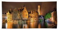 Brugge Belgium Belfry Night Beach Towel