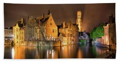 Beach Towel featuring the photograph Brugge Belgium Belfry Night by Nathan Bush