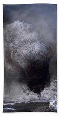 Beach Towel featuring the digital art Buffalo Charging Through Snow by Daniel Eskridge