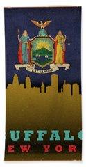 Buffalo City Skyline State Flag Of New York Beach Towel