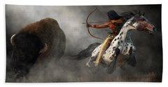 Beach Towel featuring the digital art Buffalo Hunt by Daniel Eskridge