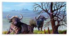 Buffaloes And The Mountain Beach Towel