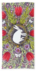 Bunny Nest With Red Flowers Variation Beach Towel