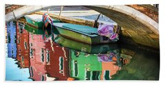 Burano Bridge Reflections Beach Towel