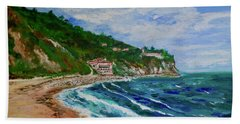Beach Towel featuring the painting Burnout Beach, Redondo Beach California by Tom Roderick