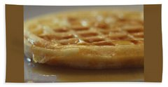 Buttered Waffle With Maple Syrup Beach Towel