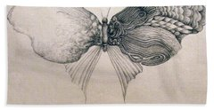 Beach Towel featuring the drawing Butterfly For Jeffrey by Rosanne Licciardi