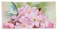 Butterfly On Cherry Blossom Beach Towel
