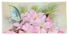 Butterfly On Cherry Blossom Beach Towel