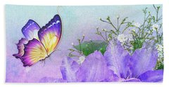 Butterfly On Clematis Beach Towel