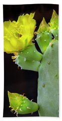 Cactus Blooms With Bee II Beach Towel