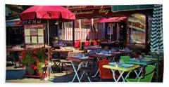 Cafe Scene In France Beach Towel