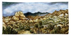 California Desert Landscape - Watercolor Art Painting Beach Towel