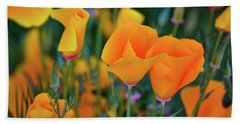 Beach Towel featuring the photograph California Poppies Lake Elsinore by Kyle Hanson