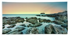 Beach Towel featuring the photograph Calm Rocky Coast In Greece by Milan Ljubisavljevic