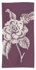 Camelia Purple Flower Beach Towel