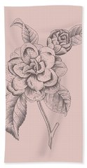 Camellia Blush Pink Flower Beach Towel