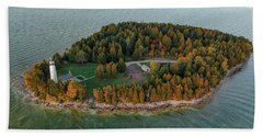 Beach Towel featuring the photograph Cana Island Aerial by Adam Romanowicz