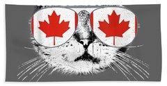 Canada Flag Canadian Cat Sunglasses Funny T-shirt Men Women Beach Towel