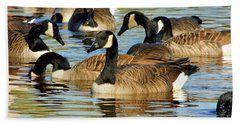 Beach Towel featuring the photograph Canada Geese by Debbie Stahre