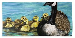 Canadian Goise And Goslings Beach Towel