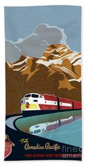 Canadian Pacific Rail Vintage Travel Poster Beach Towel