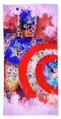 Captain America Watercolor Beach Towel
