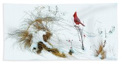 Cardinal Angel In The Snow Beach Towel