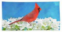 Cardinal In The Blooming Tree Beach Towel