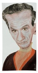 Caricature Of Actor Jonathan Harris As Dr Smith From Lost In Space Beach Towel
