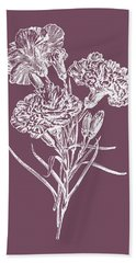 Carnations Purple Flower Beach Towel