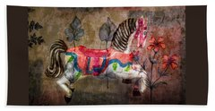 Beach Towel featuring the photograph Carousel Prancing Dream by Michael Arend