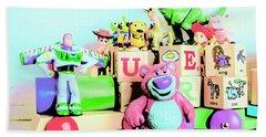Carriage Of Cartoon Characters Beach Towel