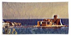 Beach Towel featuring the digital art Castle In Sea by Lucia Sirna