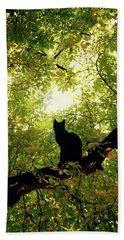Cat On A Tree Beach Towel