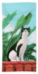 Cat On The Roof Beach Towel