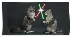 Beach Towel featuring the photograph Cat Wars by Warren Photographic