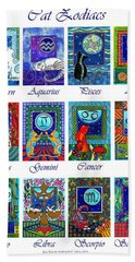 Cat Zodiac Astrological Signs Beach Sheet