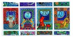 Cat Zodiac Paintings  Beach Towel